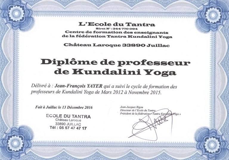 Diplôme de Kundalini Yoga, attribué à JF YAYER en 2015